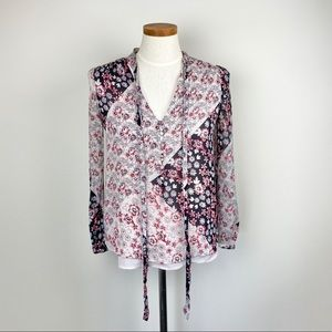 Rebecca Minkoff Front Tie Floral Blouse